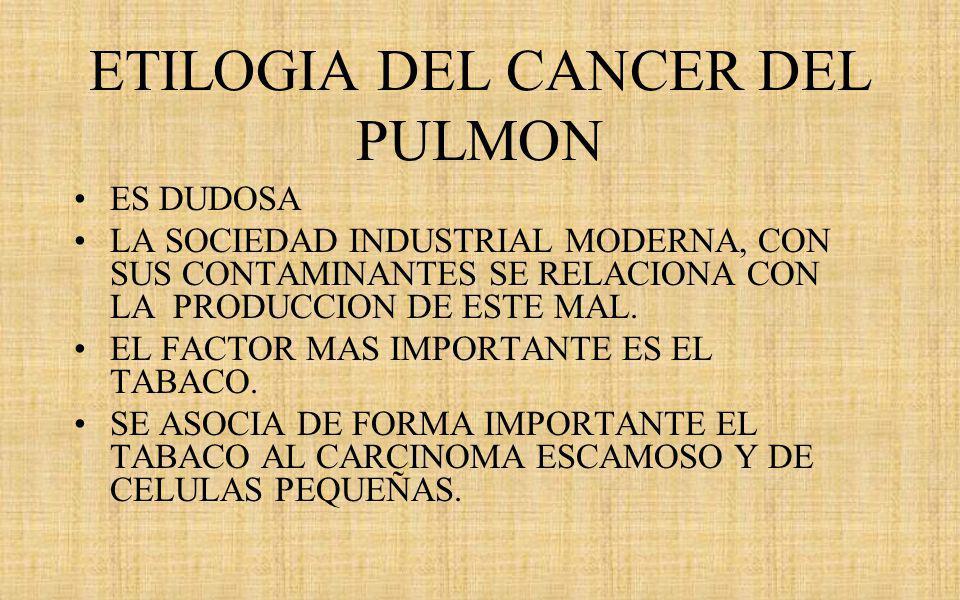 ETILOGIA DEL CANCER DEL PULMON