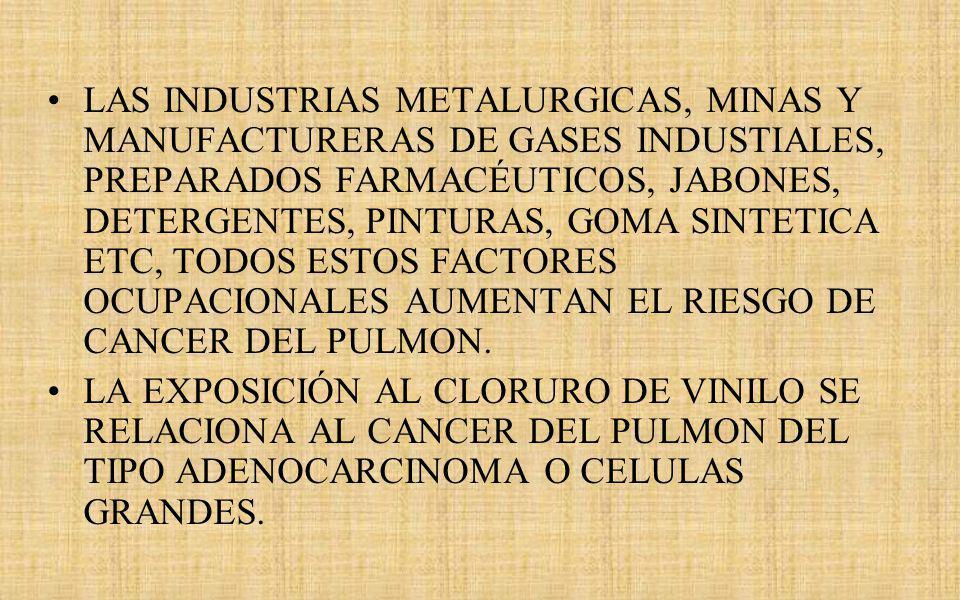 LAS INDUSTRIAS METALURGICAS, MINAS Y MANUFACTURERAS DE GASES INDUSTIALES, PREPARADOS FARMACÉUTICOS, JABONES, DETERGENTES, PINTURAS, GOMA SINTETICA ETC, TODOS ESTOS FACTORES OCUPACIONALES AUMENTAN EL RIESGO DE CANCER DEL PULMON.