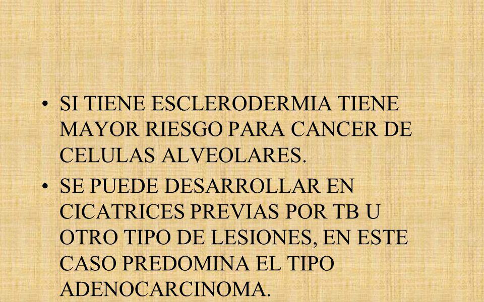 SI TIENE ESCLERODERMIA TIENE MAYOR RIESGO PARA CANCER DE CELULAS ALVEOLARES.