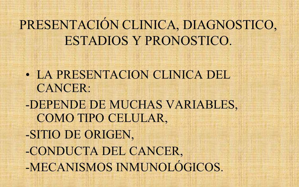 PRESENTACIÓN CLINICA, DIAGNOSTICO, ESTADIOS Y PRONOSTICO.