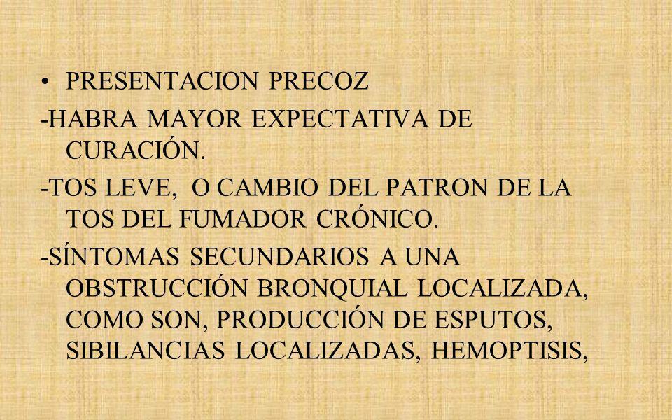 PRESENTACION PRECOZ -HABRA MAYOR EXPECTATIVA DE CURACIÓN. -TOS LEVE, O CAMBIO DEL PATRON DE LA TOS DEL FUMADOR CRÓNICO.
