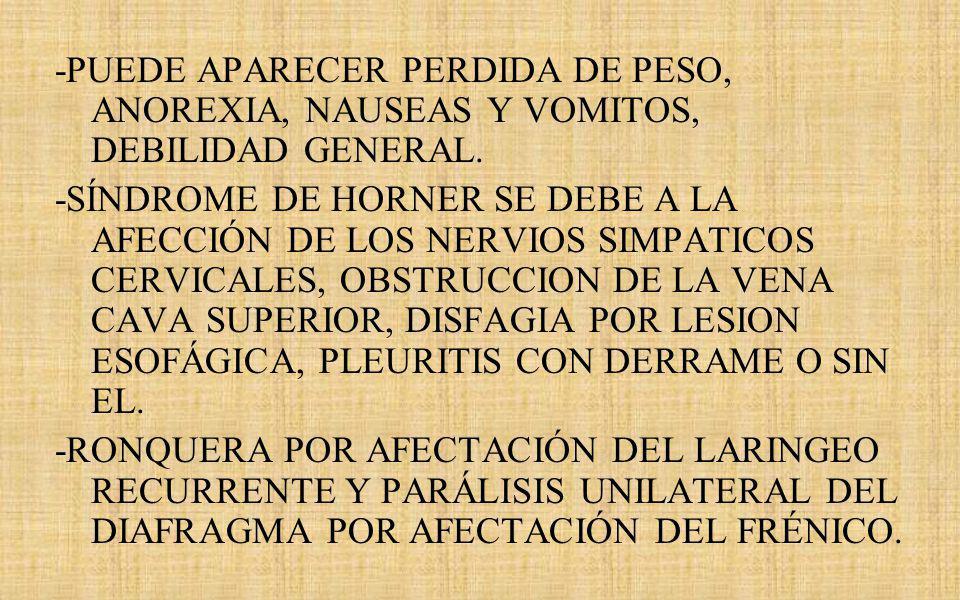 -PUEDE APARECER PERDIDA DE PESO, ANOREXIA, NAUSEAS Y VOMITOS, DEBILIDAD GENERAL.