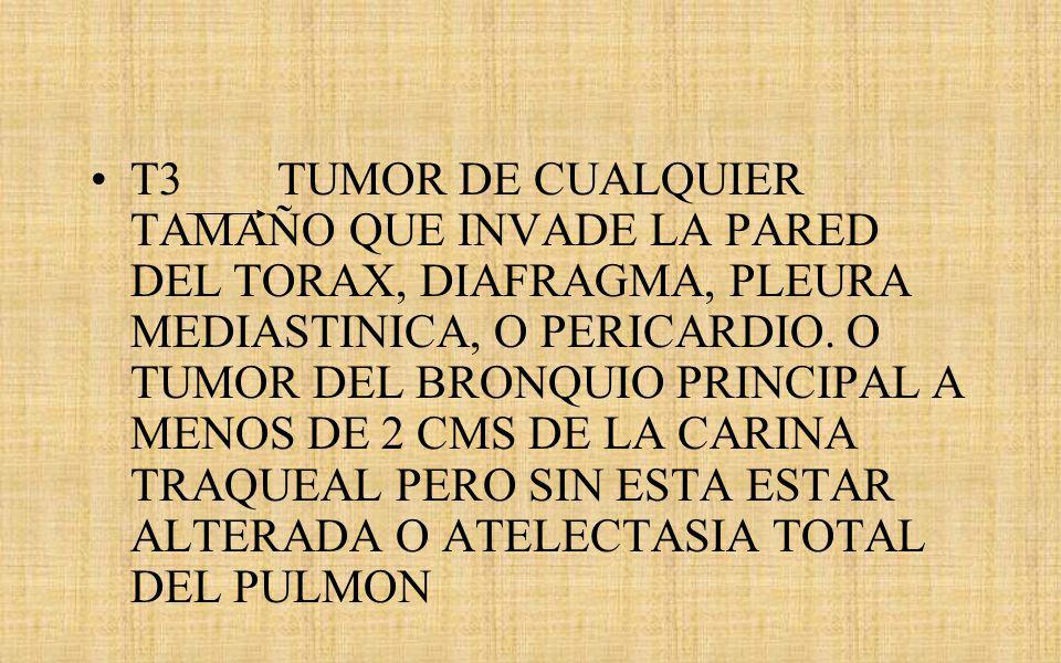 T3 TUMOR DE CUALQUIER TAMAÑO QUE INVADE LA PARED DEL TORAX, DIAFRAGMA, PLEURA MEDIASTINICA, O PERICARDIO.