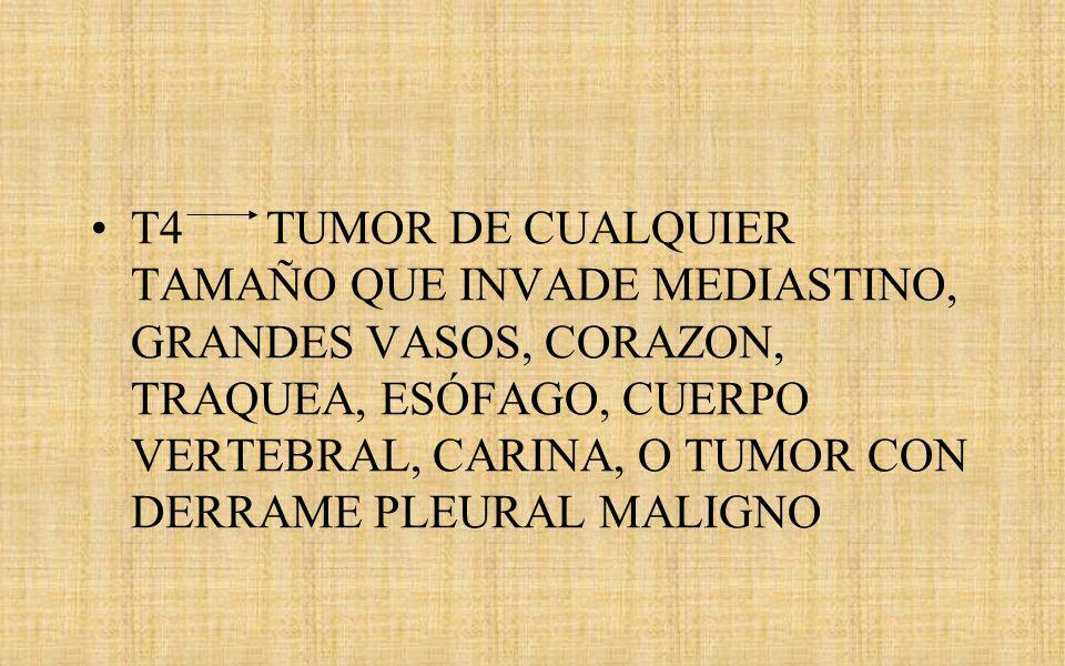 T4 TUMOR DE CUALQUIER TAMAÑO QUE INVADE MEDIASTINO, GRANDES VASOS, CORAZON, TRAQUEA, ESÓFAGO, CUERPO VERTEBRAL, CARINA, O TUMOR CON DERRAME PLEURAL MALIGNO