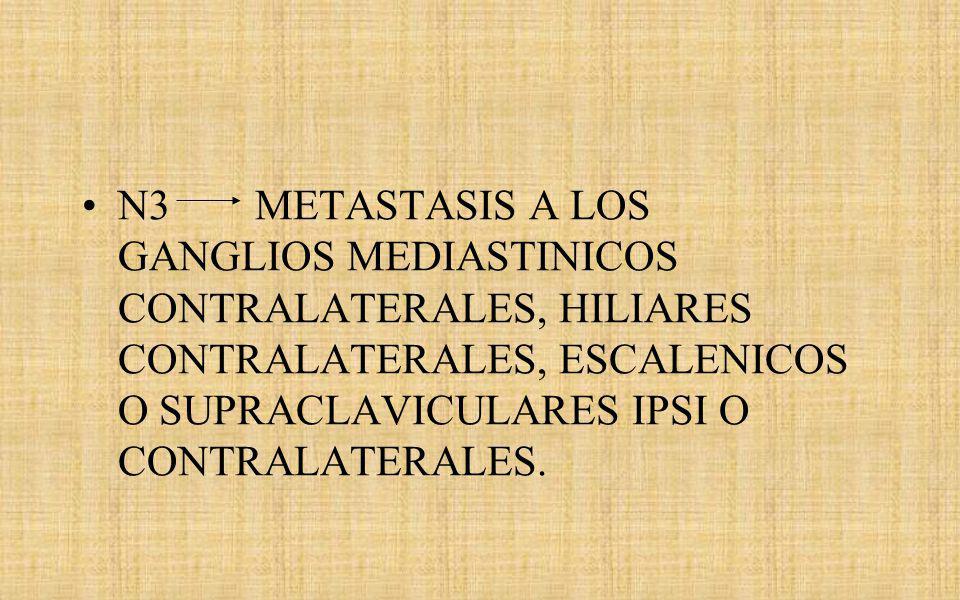 N3 METASTASIS A LOS GANGLIOS MEDIASTINICOS CONTRALATERALES, HILIARES CONTRALATERALES, ESCALENICOS O SUPRACLAVICULARES IPSI O CONTRALATERALES.