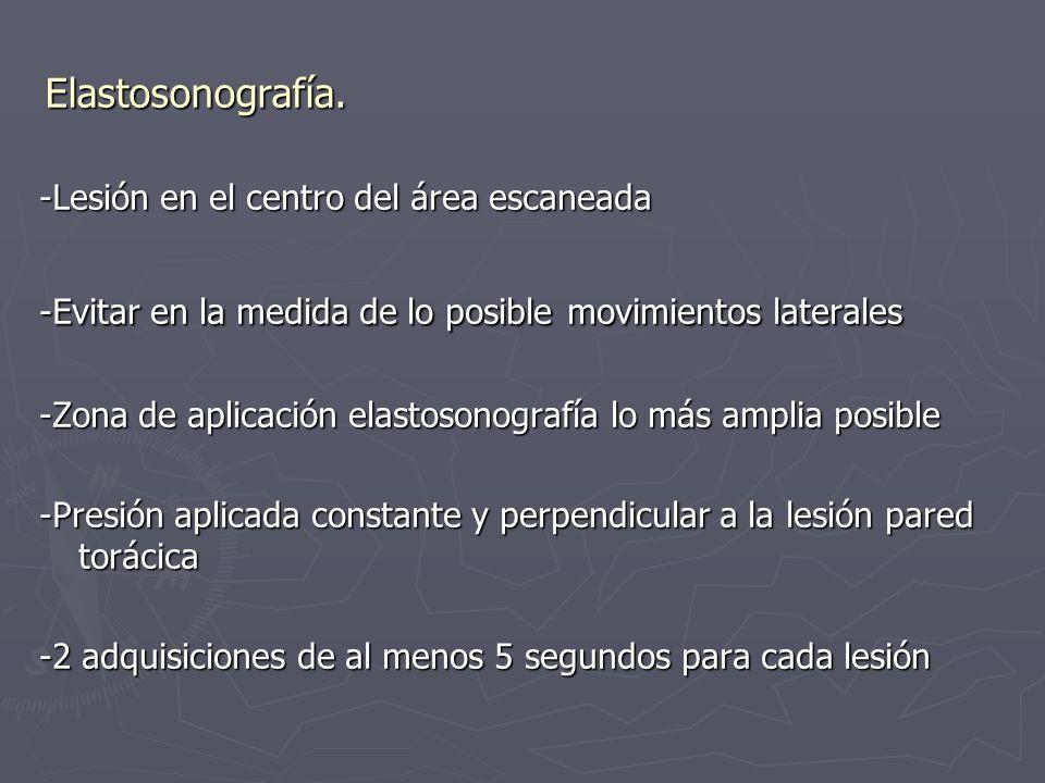 Elastosonografía. -Lesión en el centro del área escaneada