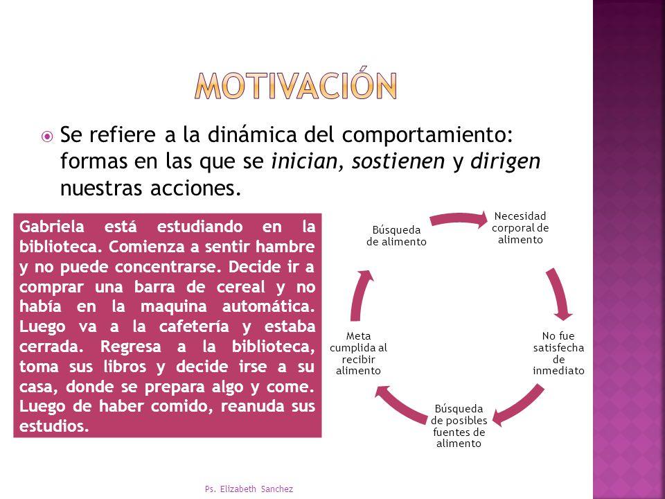 motivación Se refiere a la dinámica del comportamiento: formas en las que se inician, sostienen y dirigen nuestras acciones.