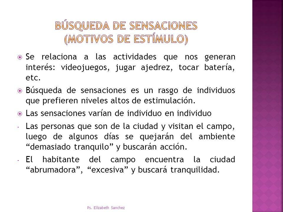 BÚSQUEDA DE SENSACIONES (motivos DE ESTÍMULO)