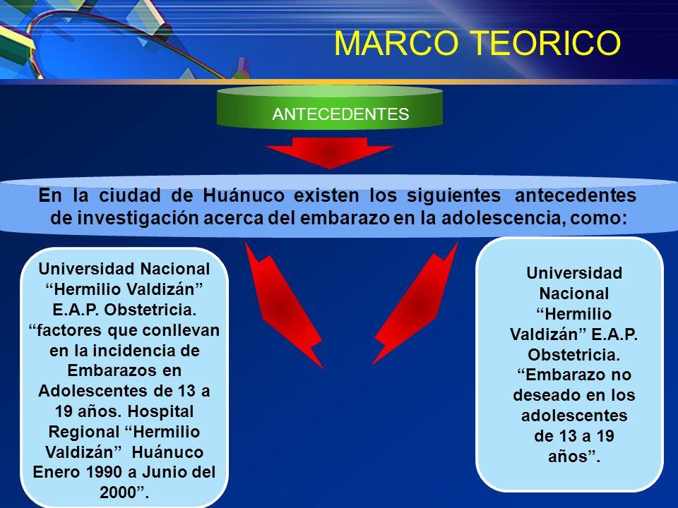 MARCO TEORICO ANTECEDENTES. En la ciudad de Huánuco existen los siguientes antecedentes.