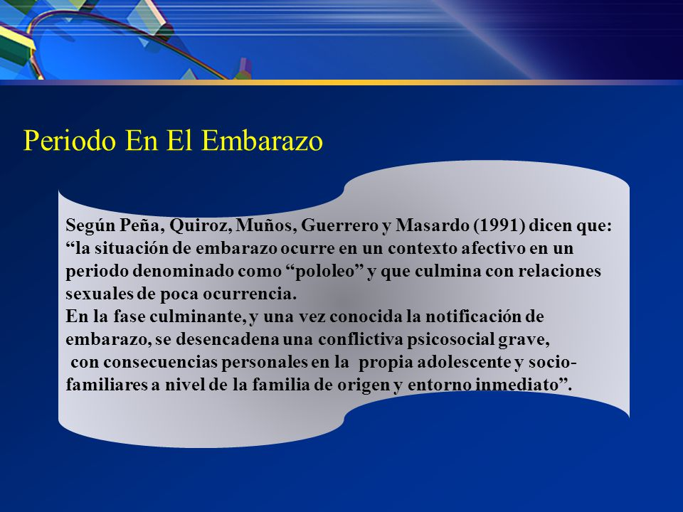 Periodo En El Embarazo Según Peña, Quiroz, Muños, Guerrero y Masardo (1991) dicen que: