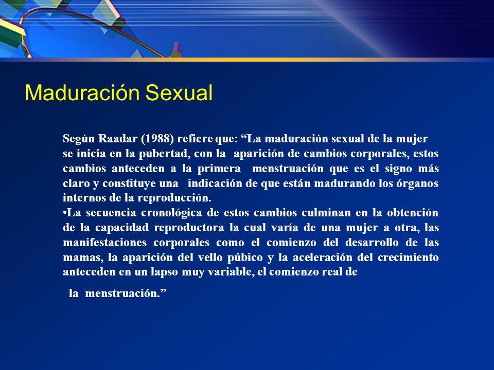 Maduración Sexual Según Raadar (1988) refiere que: La maduración sexual de la mujer.