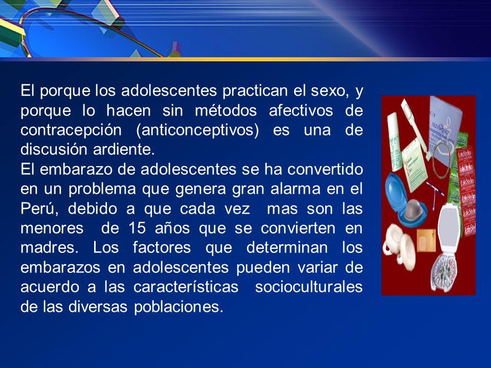El porque los adolescentes practican el sexo, y porque lo hacen sin métodos afectivos de contracepción (anticonceptivos) es una de discusión ardiente.