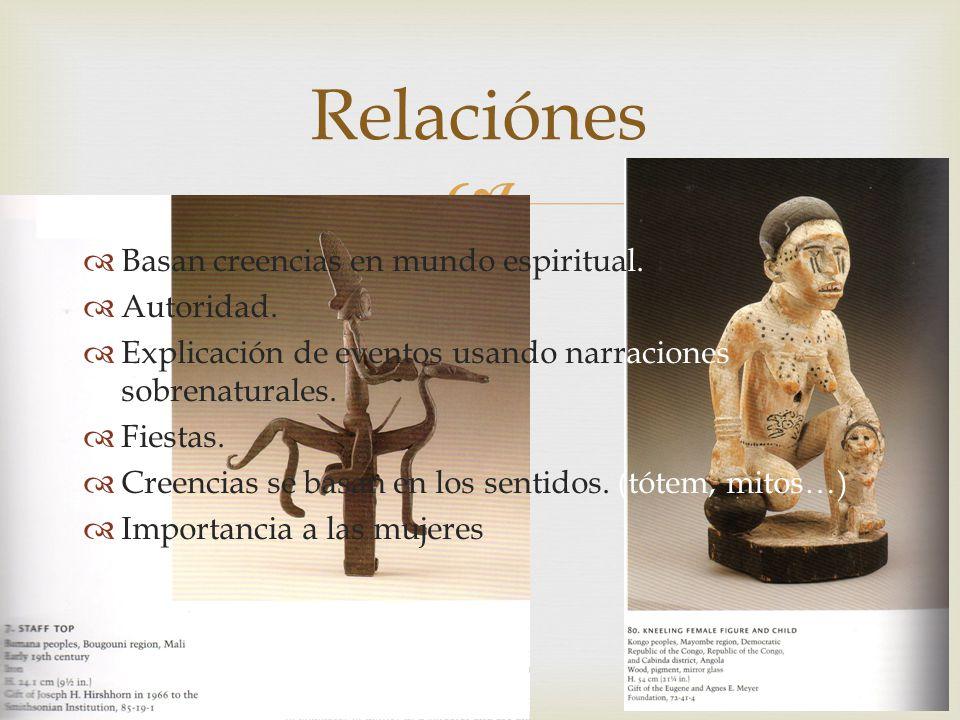 Relaciónes Basan creencias en mundo espiritual. Autoridad.