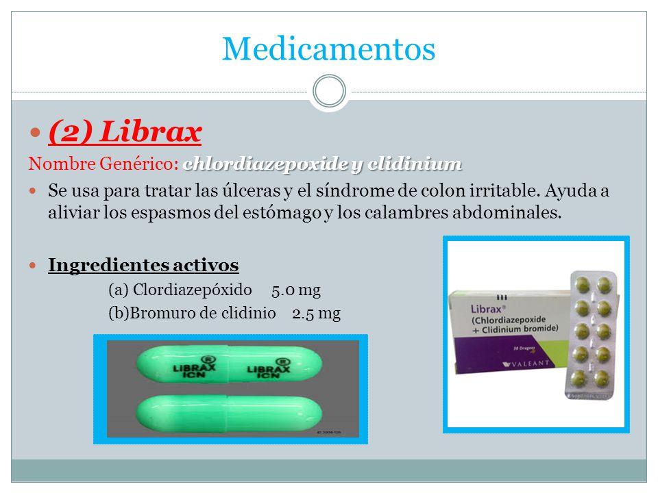 Medicamentos (2) Librax Nombre Genérico: chlordiazepoxide y clidinium