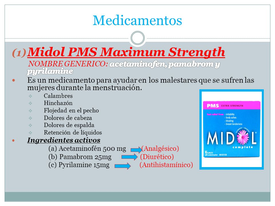 Medicamentos Midol PMS Maximum Strength