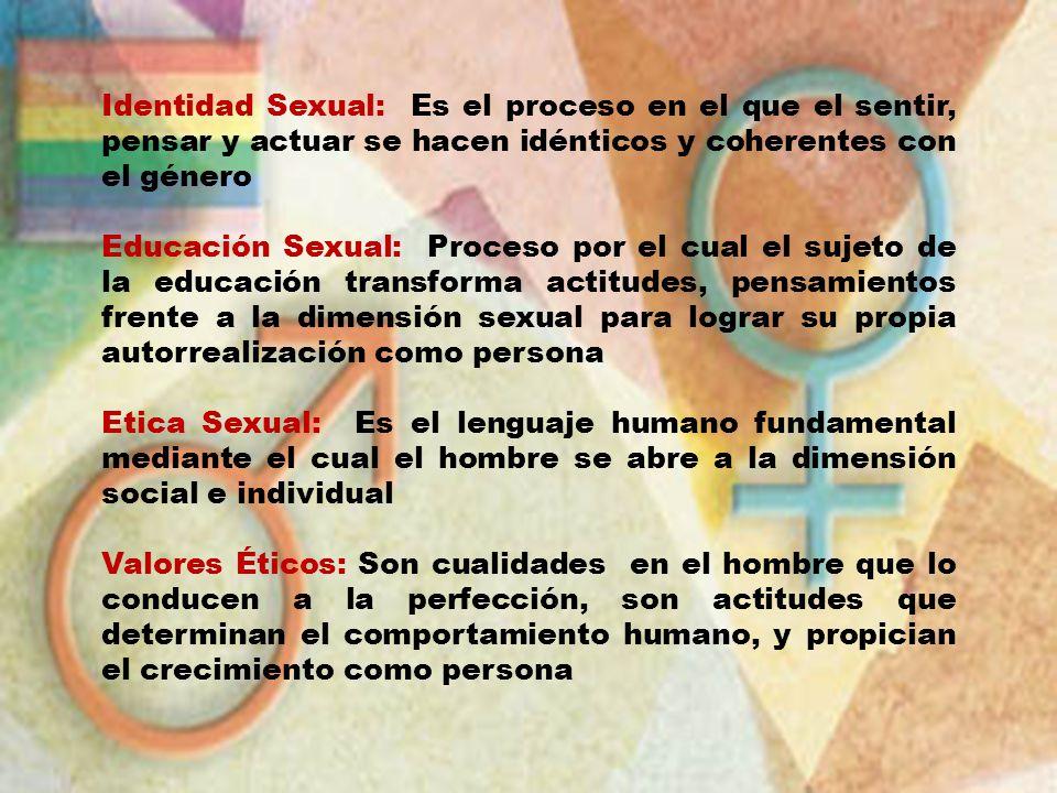 Identidad Sexual: Es el proceso en el que el sentir, pensar y actuar se hacen idénticos y coherentes con el género