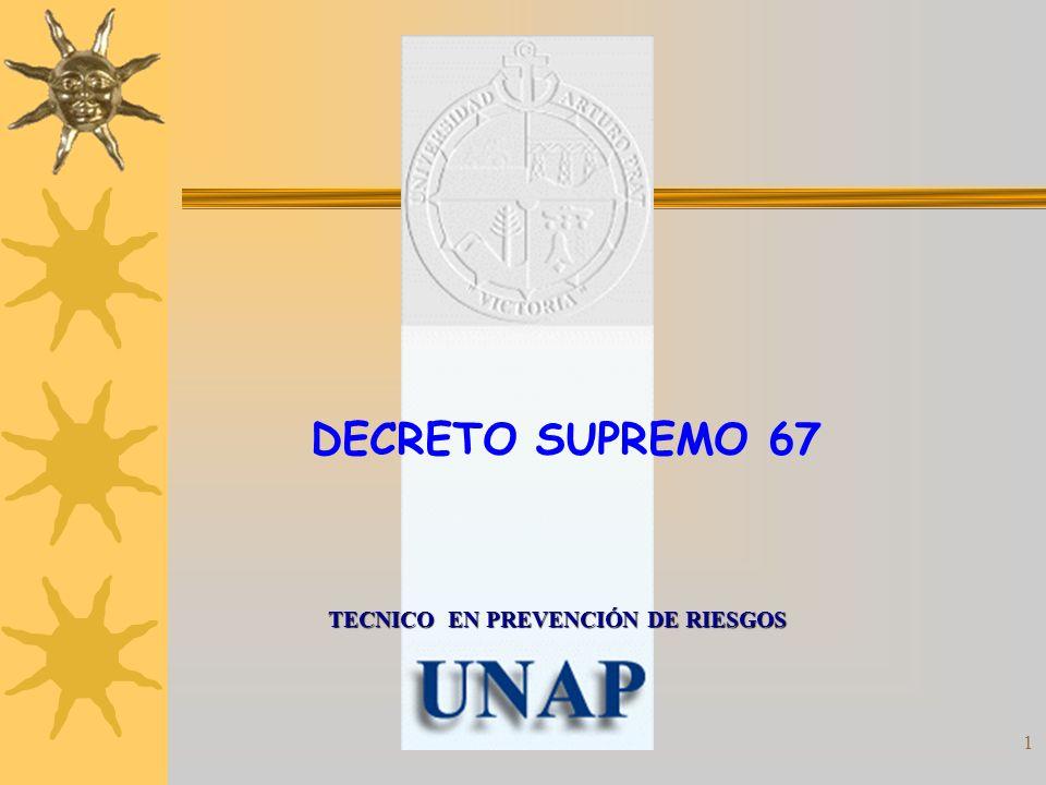 DECRETO SUPREMO 67 TECNICO EN PREVENCIÓN DE RIESGOS