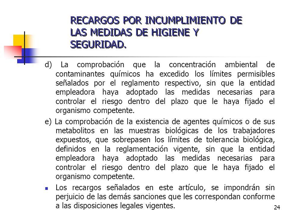 RECARGOS POR INCUMPLIMIENTO DE LAS MEDIDAS DE HIGIENE Y SEGURIDAD.
