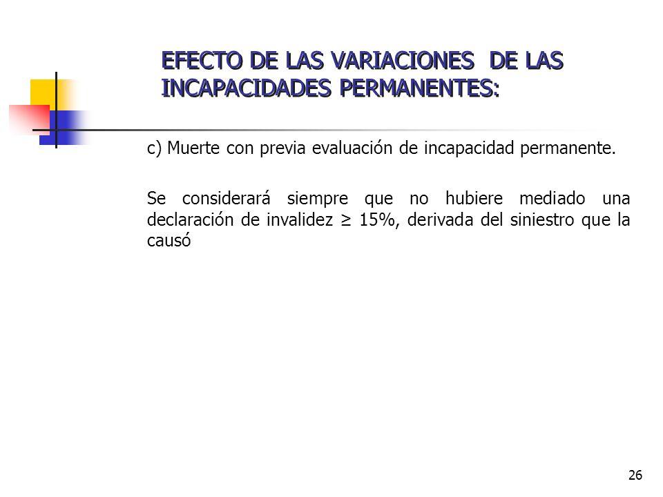 EFECTO DE LAS VARIACIONES DE LAS INCAPACIDADES PERMANENTES: