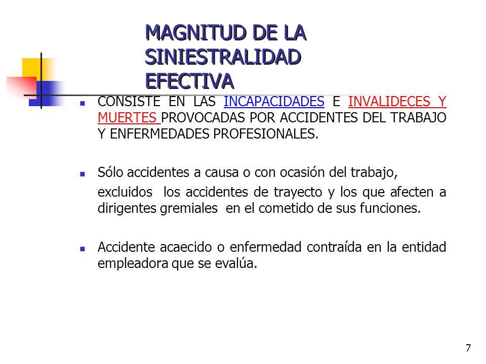 MAGNITUD DE LA SINIESTRALIDAD EFECTIVA