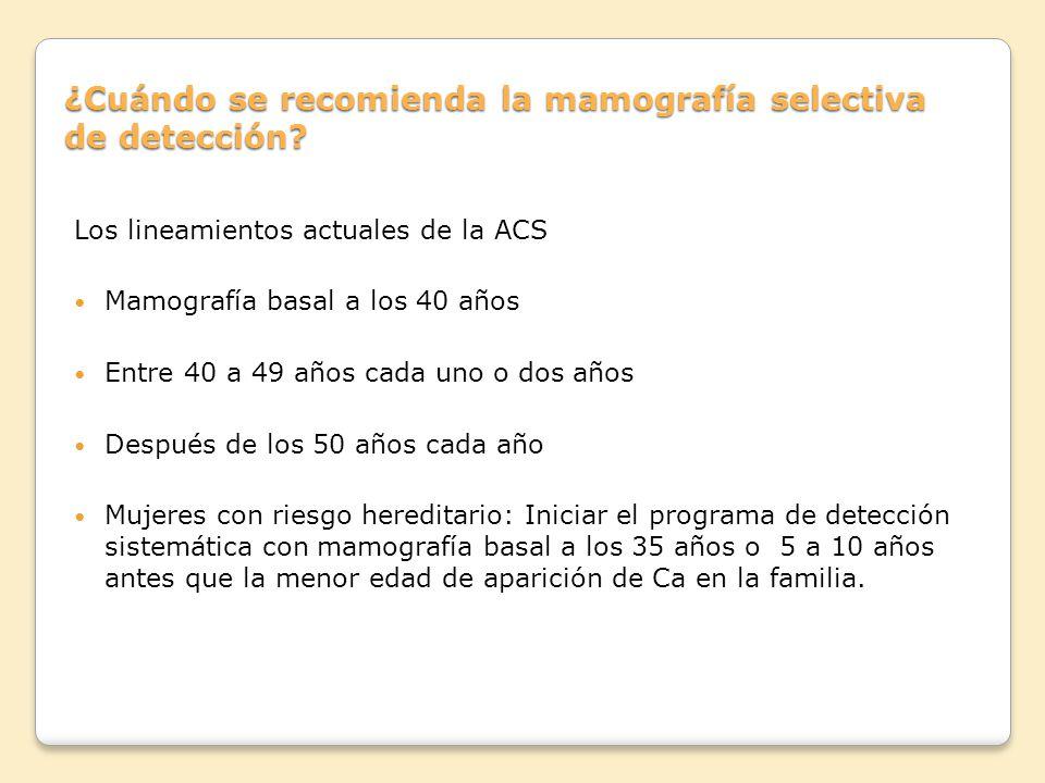 ¿Cuándo se recomienda la mamografía selectiva de detección