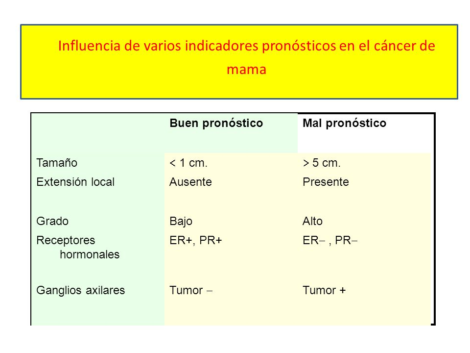 Influencia de varios indicadores pronósticos en el cáncer de mama