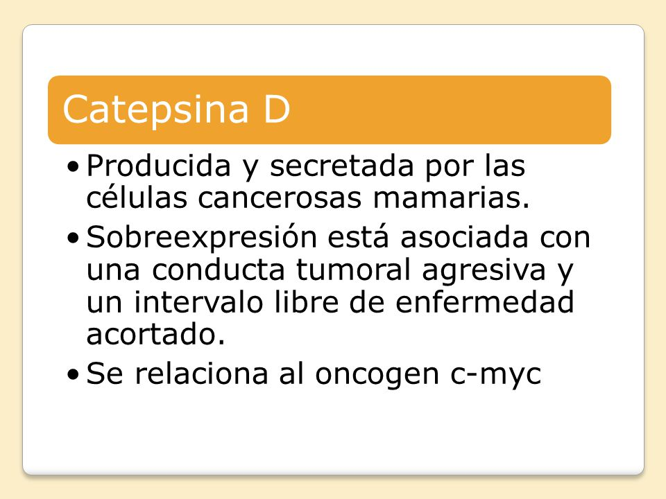 Catepsina D Producida y secretada por las células cancerosas mamarias.