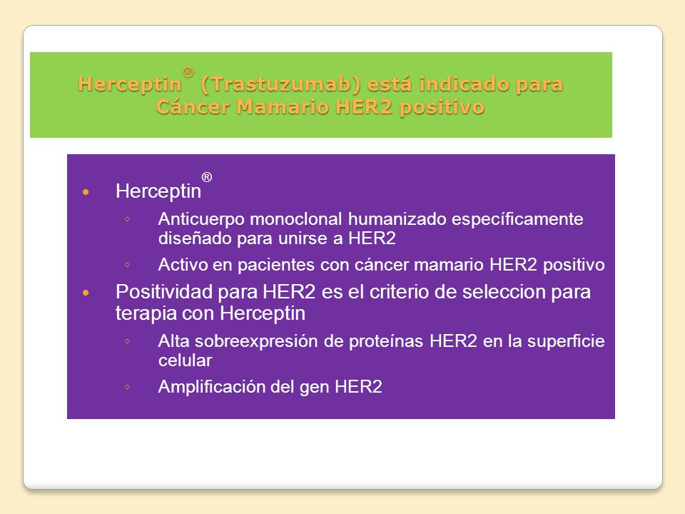 Herceptin® (Trastuzumab) está indicado para Cáncer Mamario HER2 positivo