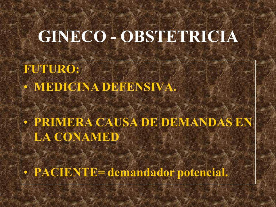 GINECO - OBSTETRICIA FUTURO: MEDICINA DEFENSIVA.