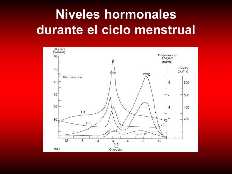 Niveles hormonales durante el ciclo menstrual