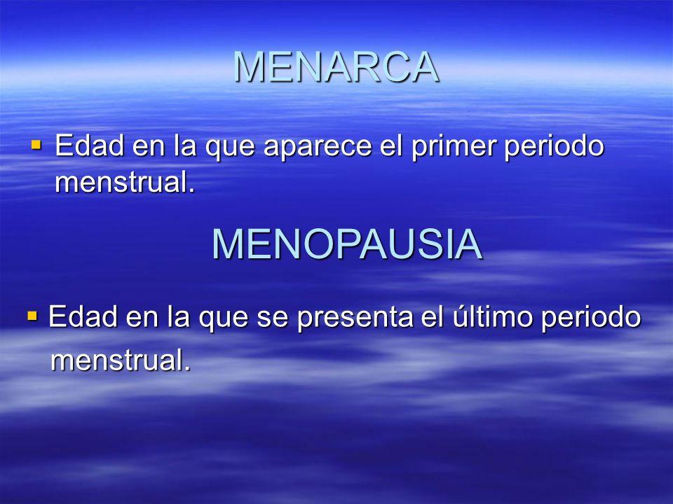 MENARCA MENOPAUSIA Edad en la que aparece el primer periodo menstrual.
