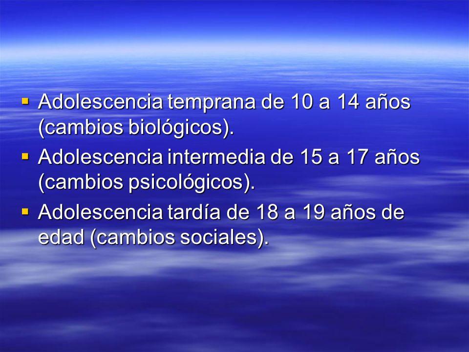 Adolescencia temprana de 10 a 14 años (cambios biológicos).