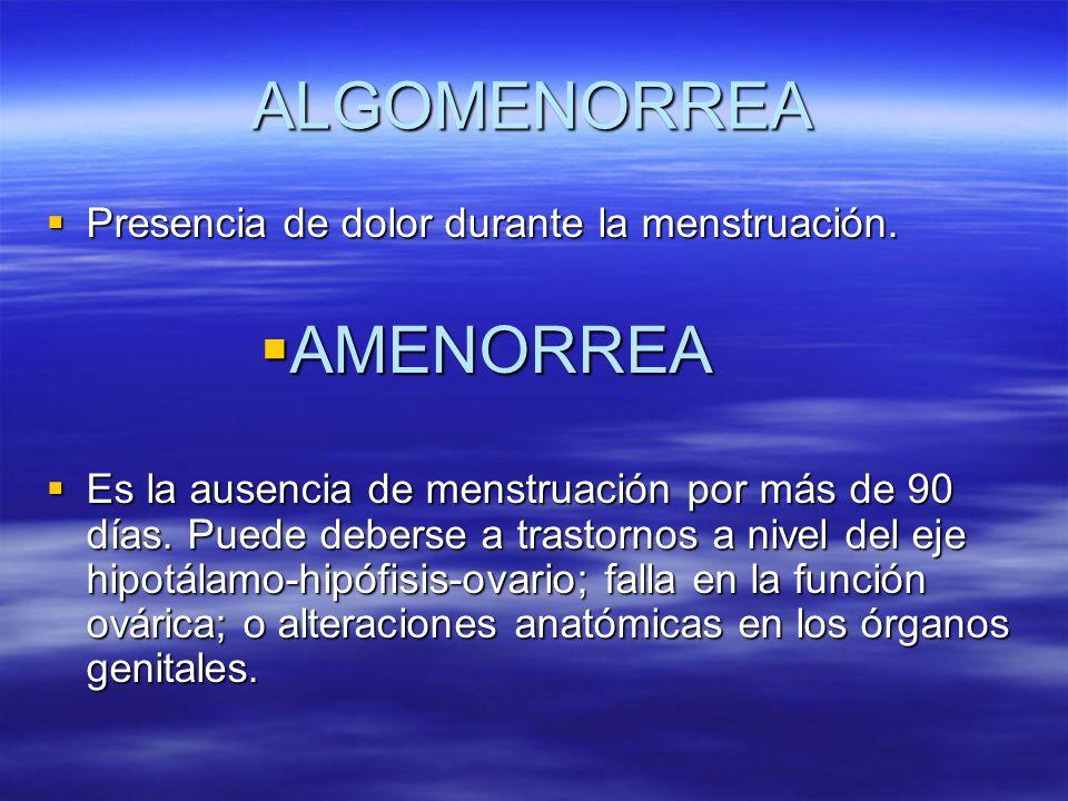 ALGOMENORREA AMENORREA Presencia de dolor durante la menstruación.