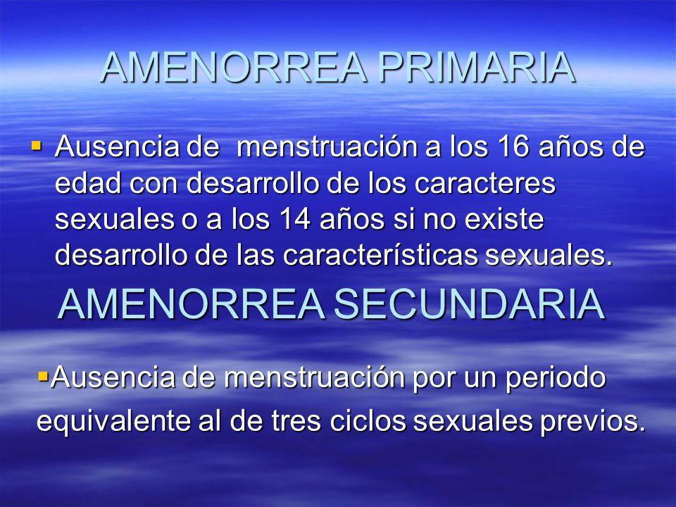 AMENORREA PRIMARIA AMENORREA SECUNDARIA