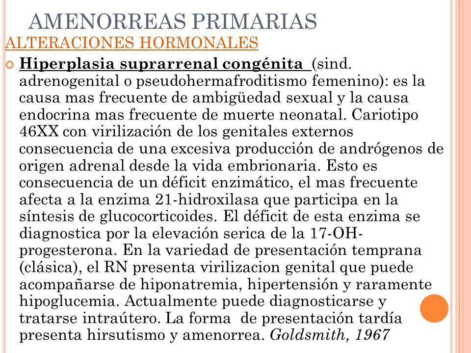 AMENORREAS PRIMARIAS ALTERACIONES HORMONALES