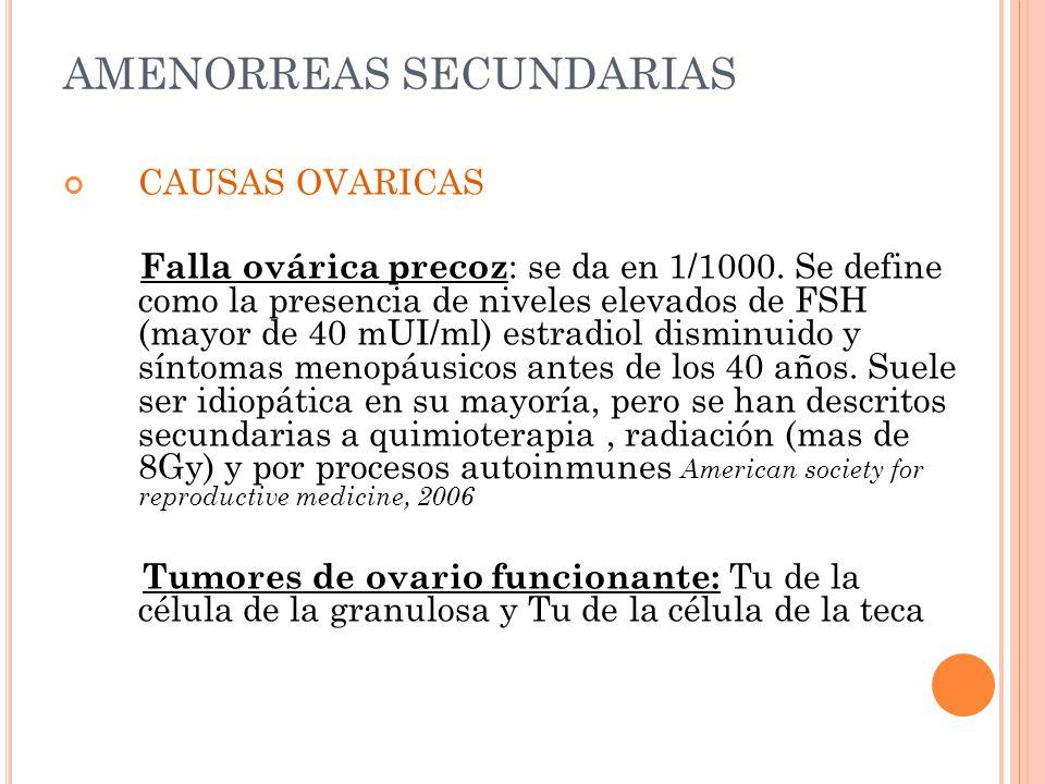 AMENORREAS SECUNDARIAS