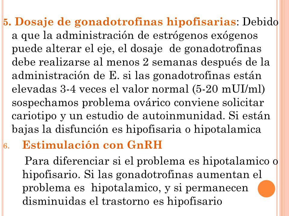5. Dosaje de gonadotrofinas hipofisarias: Debido a que la administración de estrógenos exógenos puede alterar el eje, el dosaje de gonadotrofinas debe realizarse al menos 2 semanas después de la administración de E. si las gonadotrofinas están elevadas 3-4 veces el valor normal (5-20 mUI/ml) sospechamos problema ovárico conviene solicitar cariotipo y un estudio de autoinmunidad. Si están bajas la disfunción es hipofisaria o hipotalamica