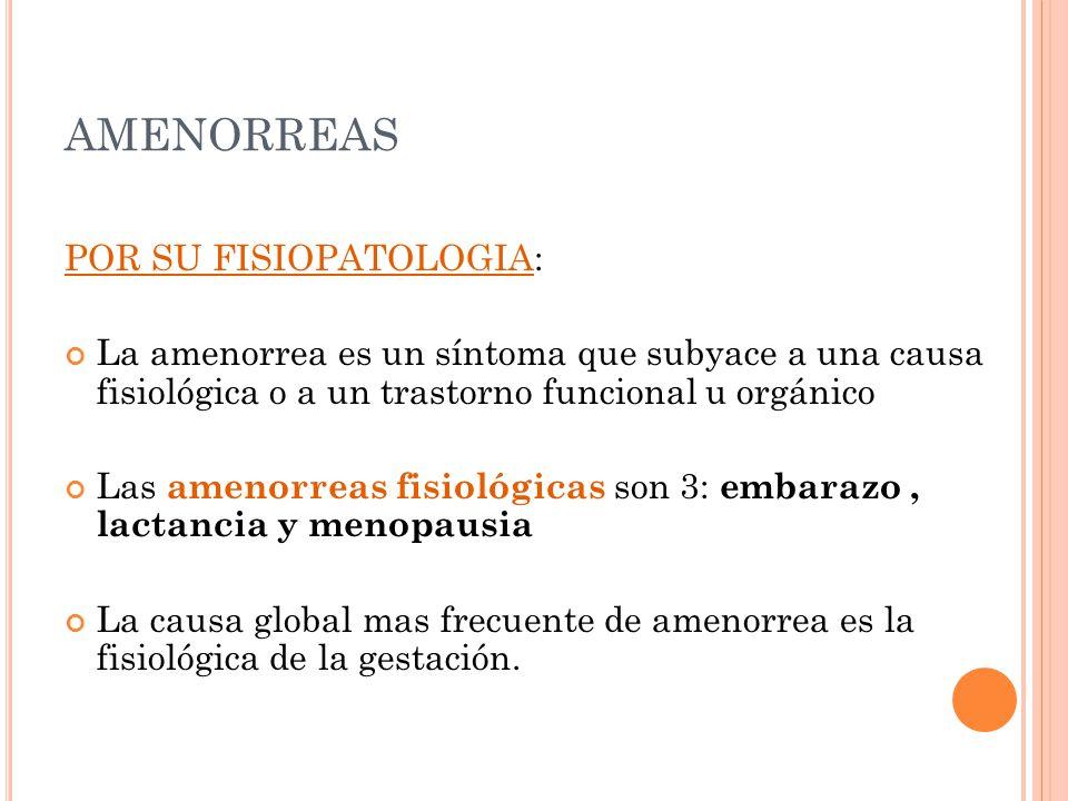 AMENORREAS POR SU FISIOPATOLOGIA: