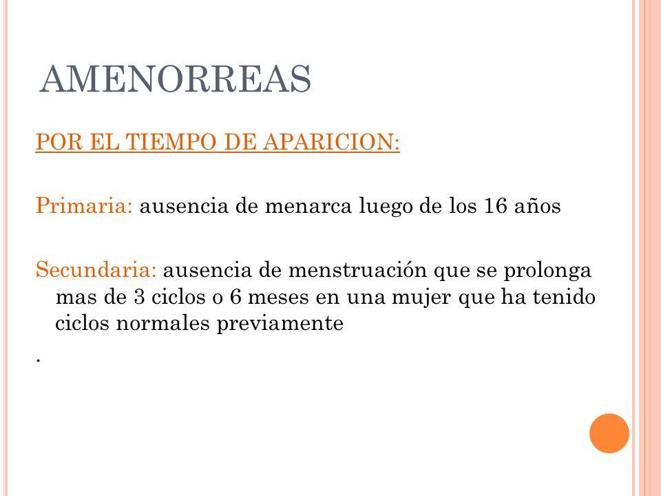 AMENORREAS POR EL TIEMPO DE APARICION: