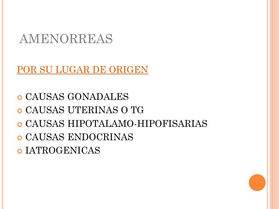 AMENORREAS POR SU LUGAR DE ORIGEN CAUSAS GONADALES