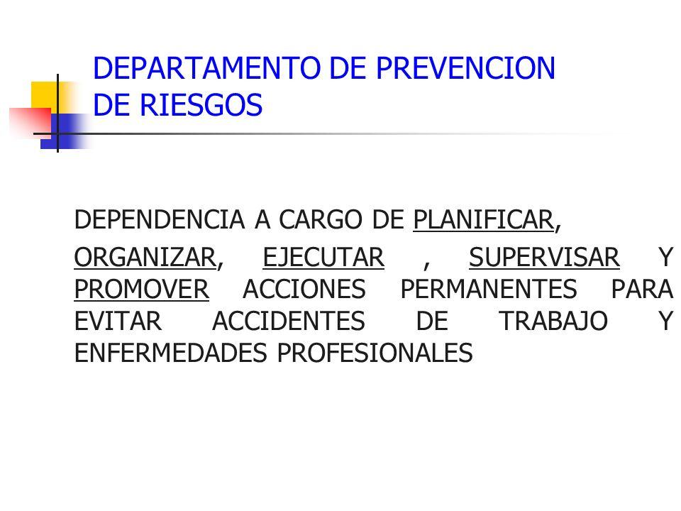 DEPARTAMENTO DE PREVENCION DE RIESGOS