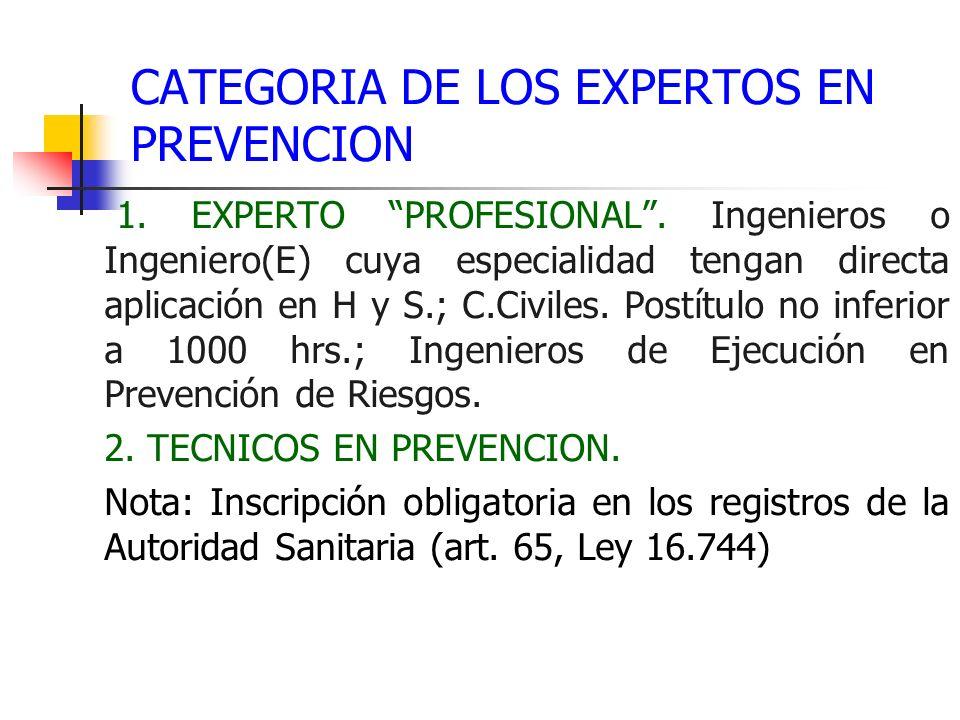 CATEGORIA DE LOS EXPERTOS EN PREVENCION