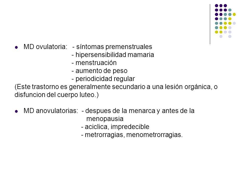 MD ovulatoria: - síntomas premenstruales