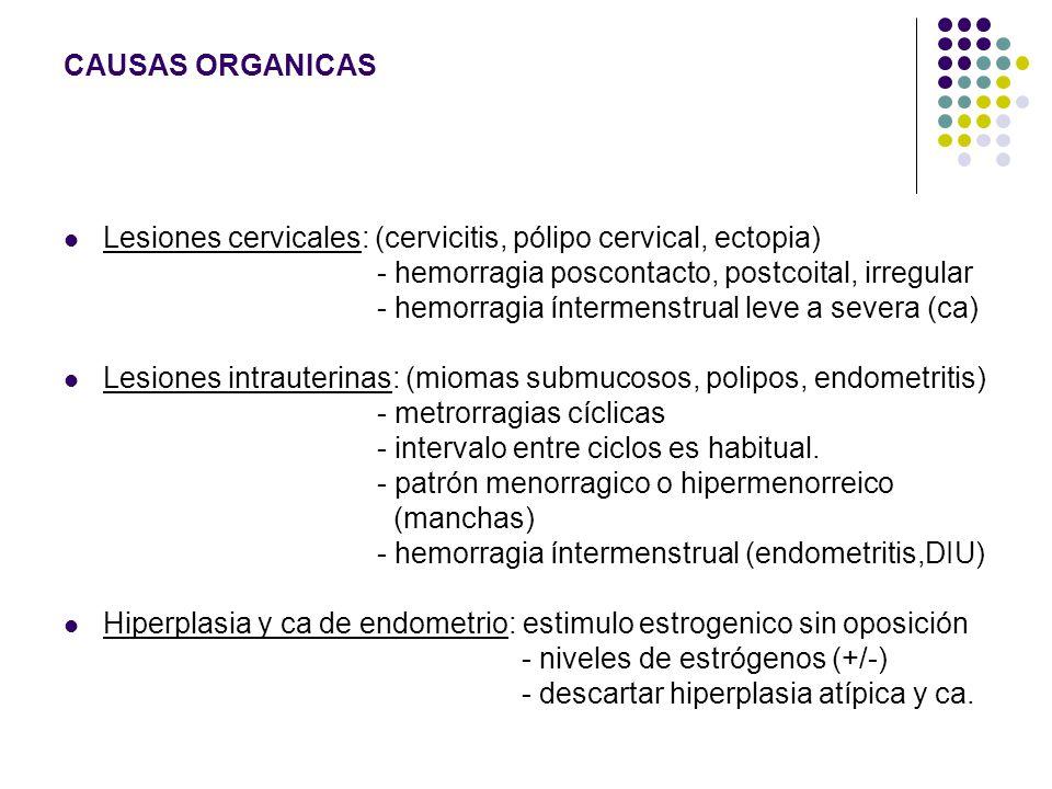 CAUSAS ORGANICAS Lesiones cervicales: (cervicitis, pólipo cervical, ectopia) - hemorragia poscontacto, postcoital, irregular.