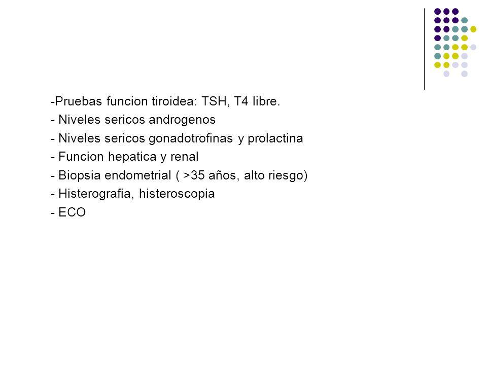 -Pruebas funcion tiroidea: TSH, T4 libre.