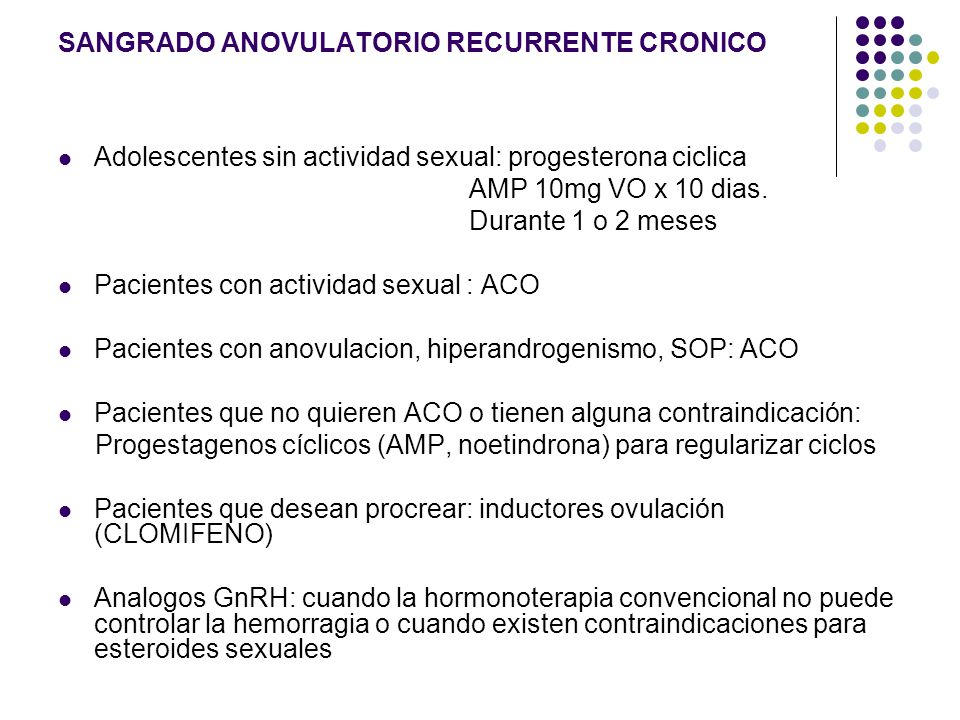 SANGRADO ANOVULATORIO RECURRENTE CRONICO