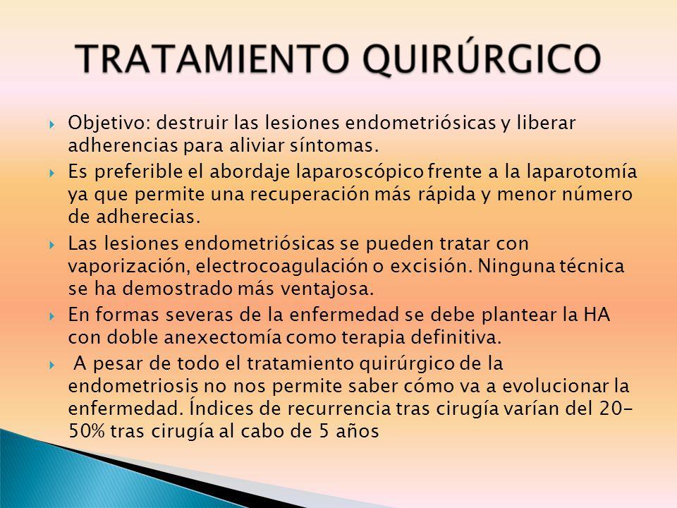 Objetivo: destruir las lesiones endometriósicas y liberar adherencias para aliviar síntomas.