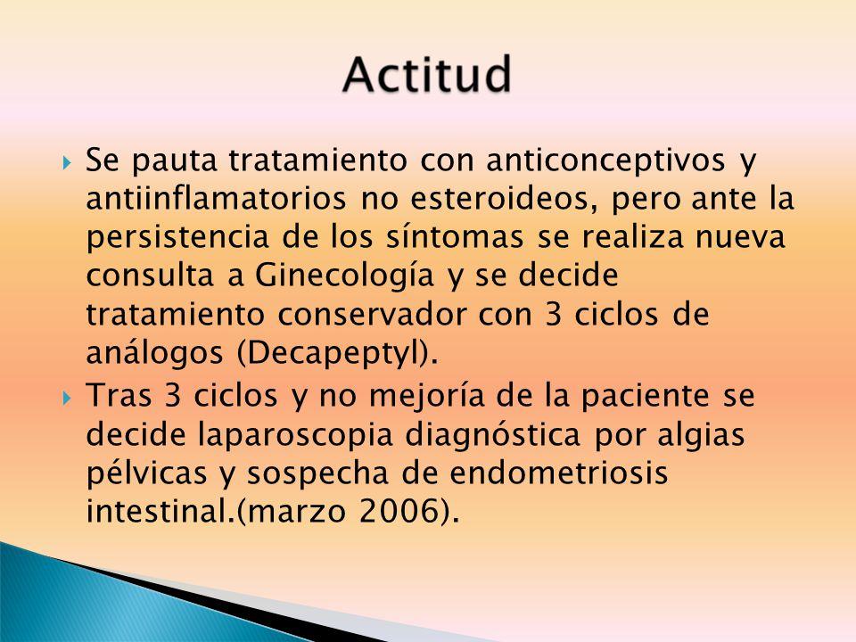 Se pauta tratamiento con anticonceptivos y antiinflamatorios no esteroideos, pero ante la persistencia de los síntomas se realiza nueva consulta a Ginecología y se decide tratamiento conservador con 3 ciclos de análogos (Decapeptyl).