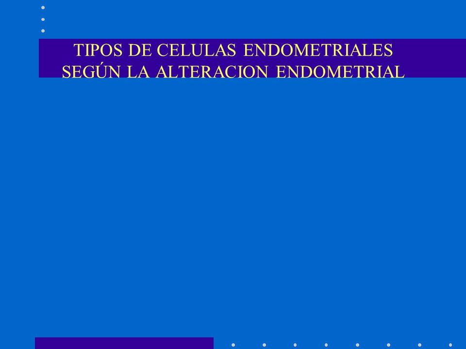TIPOS DE CELULAS ENDOMETRIALES SEGÚN LA ALTERACION ENDOMETRIAL