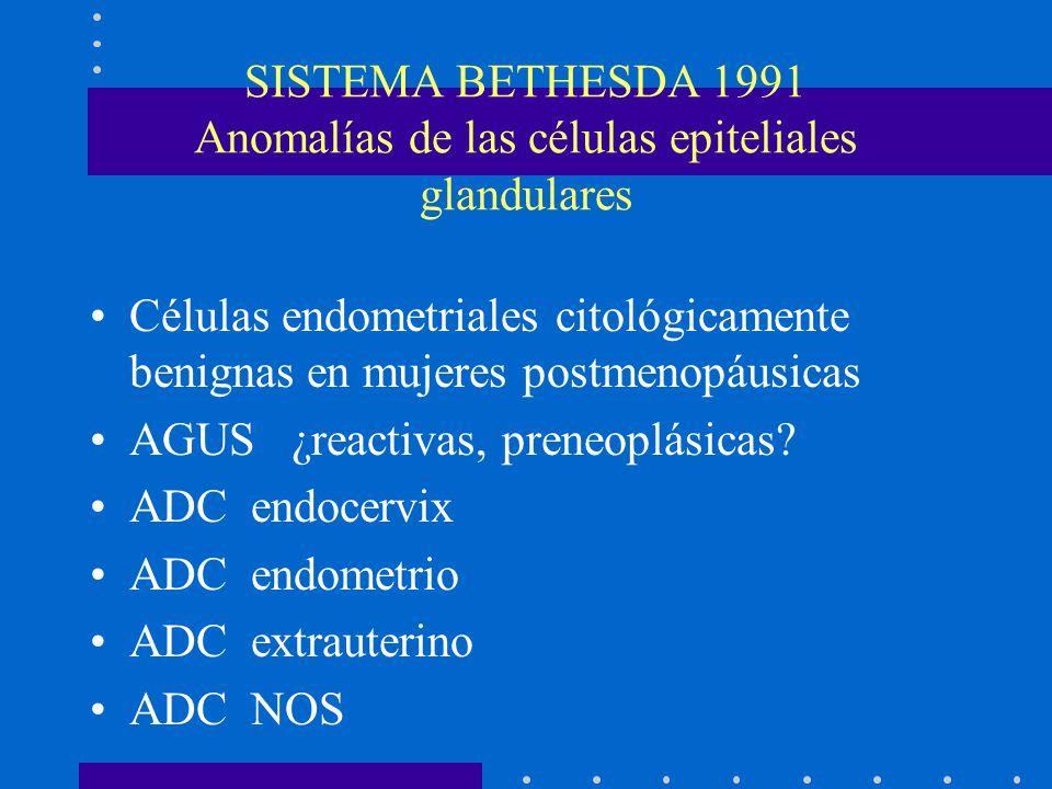 SISTEMA BETHESDA 1991 Anomalías de las células epiteliales glandulares